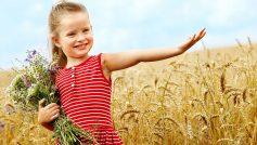 Обои девочка, ребенок, поле, пшеница