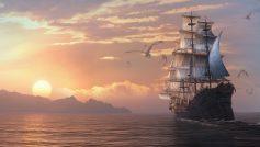Обои море, драконы, dragon eternity, драконы вечности, Арт, корабль