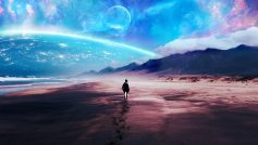 Человек идет по песку на фоне фантастического неба