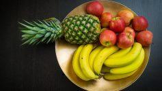 Обои Еда, фрукты, тарелка, банан, яблоки, ананас, полезное