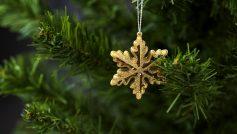 Обои новый год, рождество, ветки, ёлка, игрушка, снежинка для рабочего стола